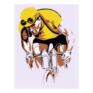 Cartão Postal Arte retro o campeão do ciclismo