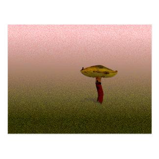 Cartão Postal Arte tampada amarelo do fungo