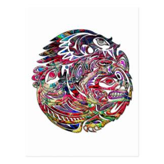 Cartão Postal Arte tribal abstrata do baixo e do urso de Eagle