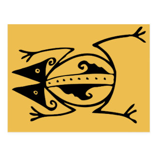 Cartão Postal Arte tribal animal antiga do sapo tribal
