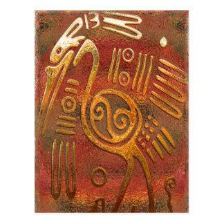 Cartão Postal Arte tribal do cromo do ouro de Mexicano
