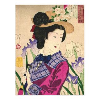 Cartão Postal Arte Ukiyo-e de Woodblock da gueixa e do japonês