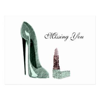 Cartão Postal Arte verde dos calçados e do batom do estilete