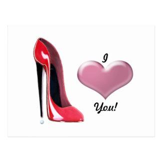 Cartão Postal Arte vermelha dos calçados do salto alto do