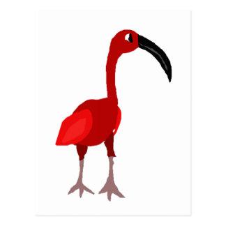 Cartão Postal Arte vermelha Funky do primitivo do pássaro dos