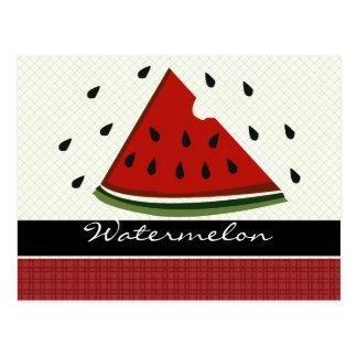 Cartão Postal Arte vermelha suculenta da melancia