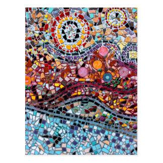 Cartão Postal Arte vibrante da parede do mosaico