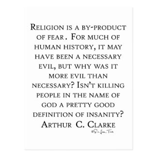 Cartão Postal Arthur C Clarke na religião