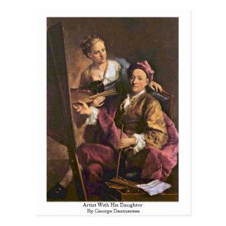 Cartão Postal Artista com sua filha por George Desmarees