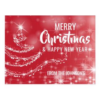 Cartão Postal Árvore branca vermelha do feliz ano novo do Feliz
