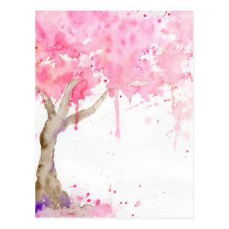 Cartão Postal Árvore cor-de-rosa abstrata da aguarela, árvore de