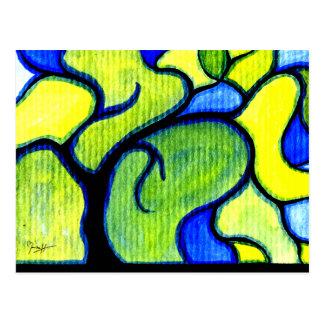 Cartão Postal Árvore da caneta e da tinta da aguarela -