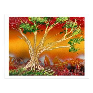 Cartão Postal Árvore da pintura pistola contra v1 alaranjado &