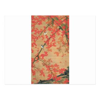 Cartão Postal Árvore de bordo e pássaros pequenos por Ito