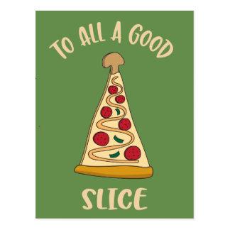 Cartão Postal Árvore de Natal do amante engraçado da pizza