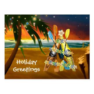 Cartão Postal Árvore de Natal do caiaque - tropical