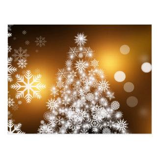 Cartão Postal Árvore de Natal do floco de neve com fundo dourado