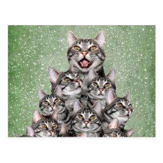 Cartão Postal Árvore de Natal do gatinho