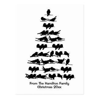 Cartão Postal Árvore de Natal do pássaro