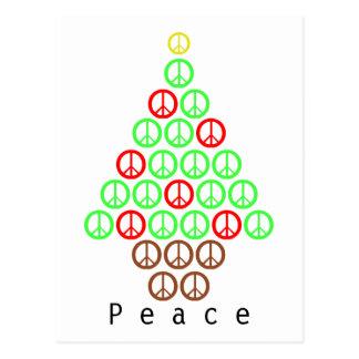 Cartão Postal Árvore de Natal do sinal de paz