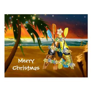 Cartão Postal Árvore de Natal tropical do caiaque