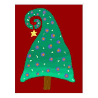 Cartão Postal Árvore de Natal verde lunática