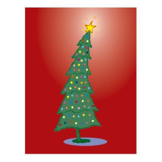 Cartão Postal Árvore de Natal vermelha de Joyeux Noel oh