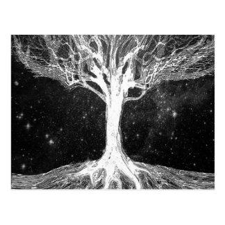 Cartão Postal Árvore de noite estrelado de vida