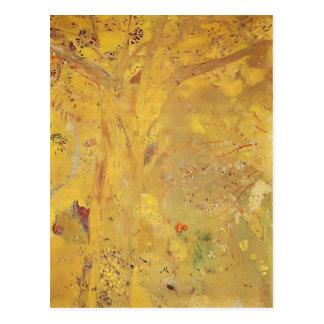 Cartão Postal Árvore de Odilon Redon- contra um fundo amarelo
