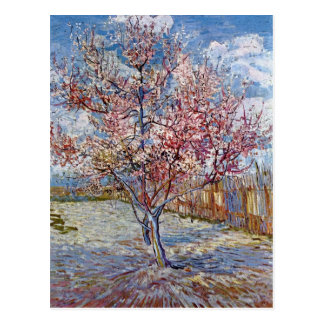 Cartão Postal Árvore de pêssego cor-de-rosa na flor por Van Gogh