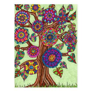 Cartão Postal Árvore de vida brilhantemente de florescência