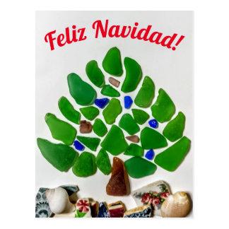 Cartão Postal Árvore de vidro de Feliz Navidad do mar verde