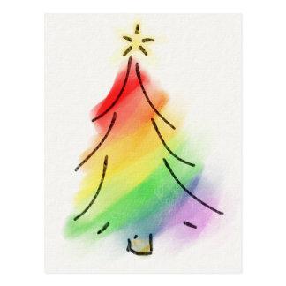 Cartão Postal Árvore do feriado do arco-íris