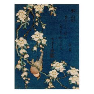 Cartão Postal Árvore do Goldfinch e de cereja do 葛飾北斎 de