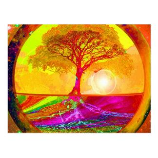Cartão Postal Árvore do nascer do sol da vida