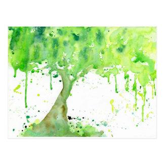 Cartão Postal Árvore do primavera do abstrato da aguarela,