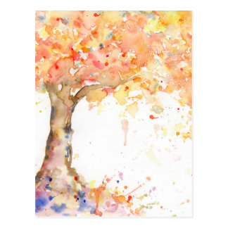Cartão Postal Árvore dourada abstrata da aguarela
