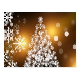 Cartão Postal Árvore dourada do floco de neve de Bokeh do Natal