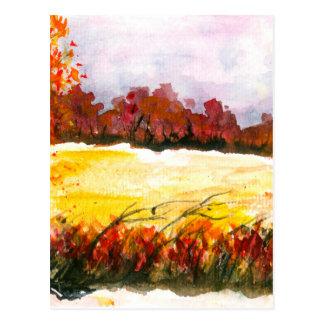 Cartão Postal Árvores abstratas do outono da arte da paisagem da