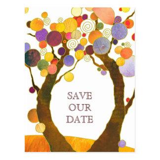 Cartão Postal Árvores de amor do estilo de Boho que Wedding