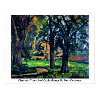 Cartão Postal Árvores de castanha e anexo por Paul Cezanne