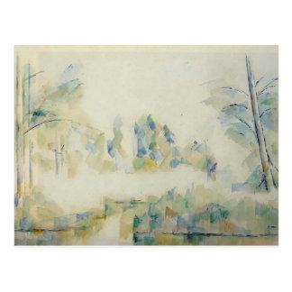 Cartão Postal Árvores de Paul Cezanne- pela água