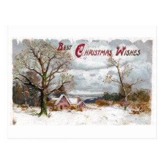 Cartão Postal Árvores desencapadas e natal vintage tormentoso