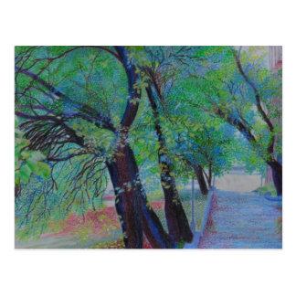 Cartão Postal Árvores do parque de Isham em Inwood NY