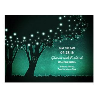 Cartão Postal árvores rústicas os corações cinzelados salvar a