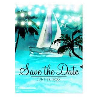 Cartão Postal As árvores & as luzes do veleiro da aguarela