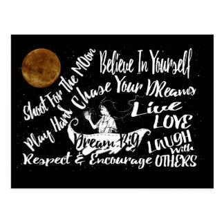 Cartão Postal As citações inspiradas Stars @ a rota do farol da