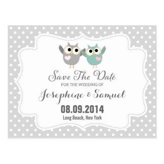Cartão Postal As corujas bonitos salvar o anúncio da data