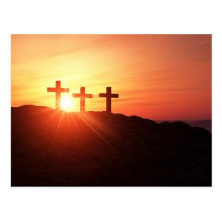 Cartão Postal As cruzes no cume 3 ao cair do sol
