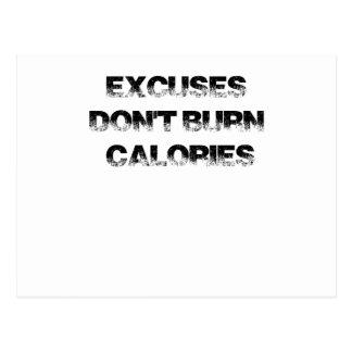 Cartão Postal As desculpas não queimam calorias - exercite,